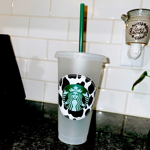 Cow print reusable cold cup